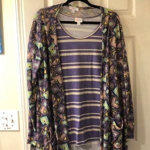 LuLaRoe Classic T Sarah long cardigan purple XL